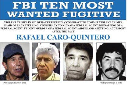 Esta imagen, publicada por el FBI, muestra el cartel de búsqueda del capo mexicano Rafael Caro Quintero, acusado de asesinar al agente de la DEA Enrique Camarena en 1985 (FBI/AP/Archivo)