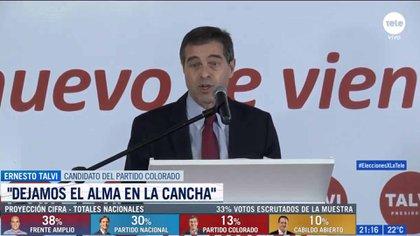 Ernesto Talvi, candidato del Partido Colorado, anunció el apoyo absoluto a Luis Lacalle Pou (Gentileza Teledoce)