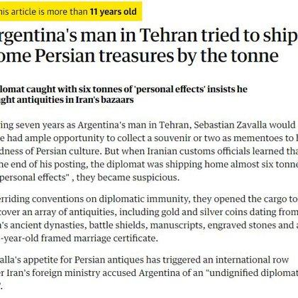 """Nota del prestigioso diario inglés -The Guardian- informando que Zavalla fue detenido en Irán por presunto """"saqueo cultural"""""""