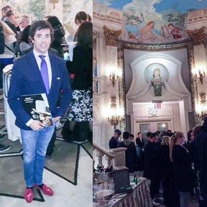 El periodista Roberto Funes Ugarte en Nueva York antes de comenzar la gala de presentación del Calendario Pirelli 2018 en los salones del edificio The Pierre.