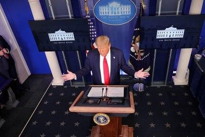 Presidente de Estados Unidos, Donald Trump, en una conferencia