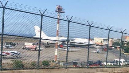 El Antonov An-124, uno de los dos aviones militares rusos que llegaron a Caracas desde Siria