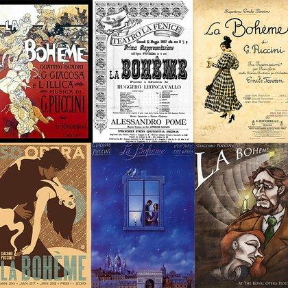 Arriba: el primer cartel de la obra; afiche de 1897; afiche de la Scala de Milán. Abajo: San Diego, Nueva York y Londres