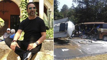 El autobús donde viajaba el staff de Marco Antonio Solís sufrió un accidente tras impactarse con una pipa de gasolina (Foto: Especial)