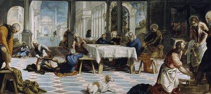 El lavatorio, obra de Tintoretto de 1548-49 que se exhibe en el Museo del Prado. Ilustra el lavado de los pies de los discípulos que hizo Jesús