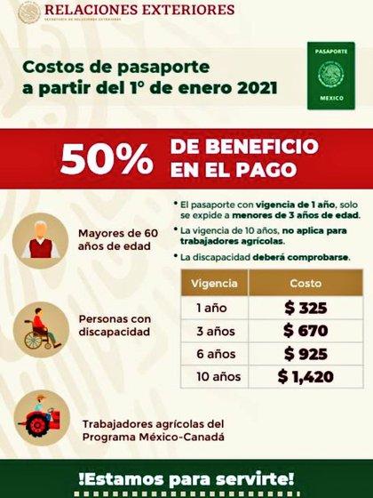 Estos son los descuentos a los precios de los pasaportes en México a partir del 1 de enero de 2021