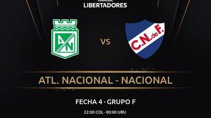 Conmebol confirma que Atlético Nacional vs. Nacional de Montevideo iniciará a las 10:00 p. m.