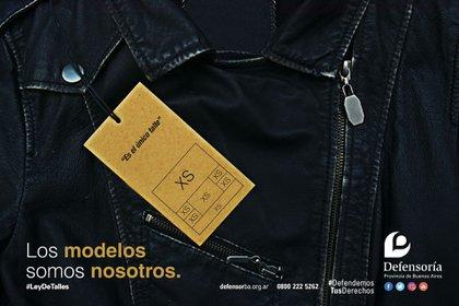 """Campaña real """"Los modelos somos nosotros"""". Sobre la diversidad de talles y el cumplimiento de las leyes vigentes para que se trasladen a las """"vidrieras"""", que realizó la Defensoría del Pueblo de la Provincia de Buenos Aires."""