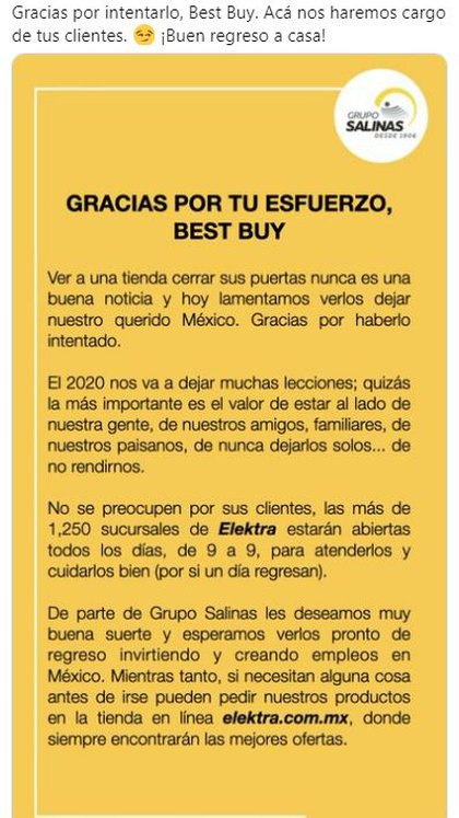 Mensaje de despedida de Groupo Salinas a Best Buy (Foto: Groupo Salinas)