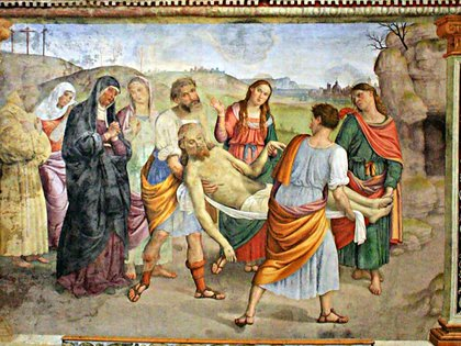 Fresco llamado Transporte de Cristo al sepulcro de Giovanni di Pietro (Lo Spagna) en La Madonna delle Lacrime, Trevi, Perugia