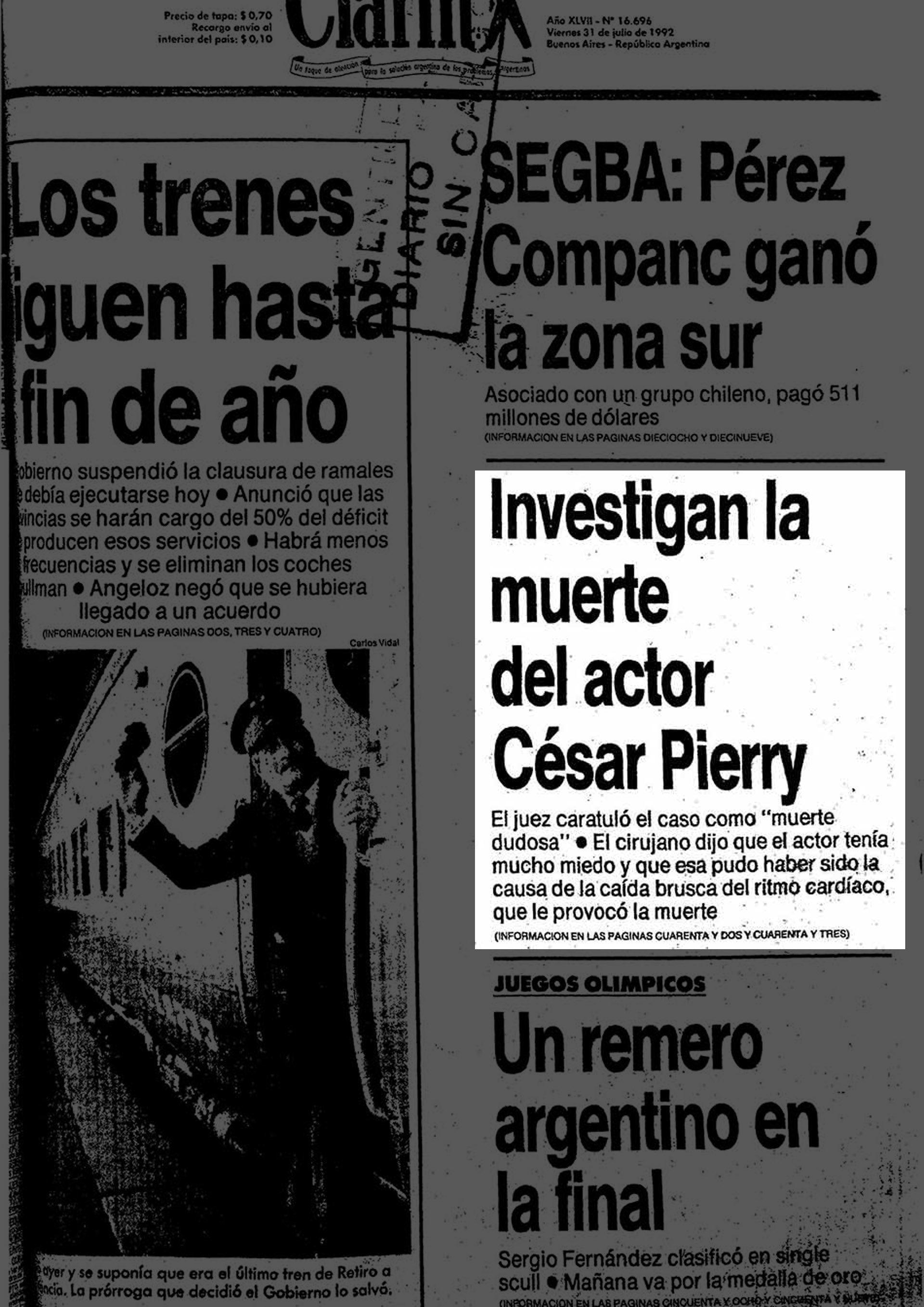 Tapa del diario Clarín del 31 de julio de 1992