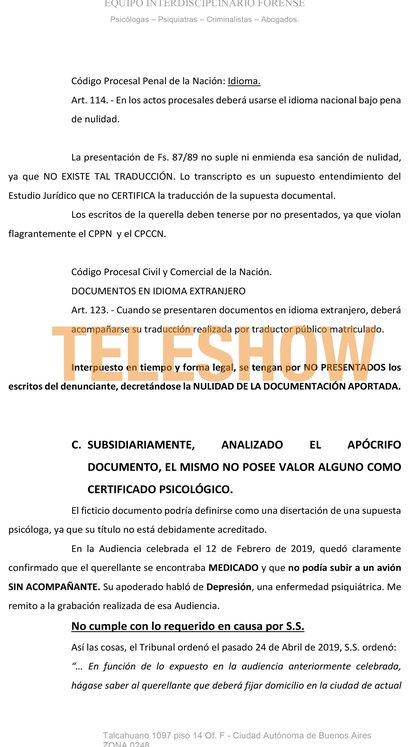El documento que Hermida presentó en Tribunales para pedir la nulidad de la causa que Juan Darthés le inició a Anita Co