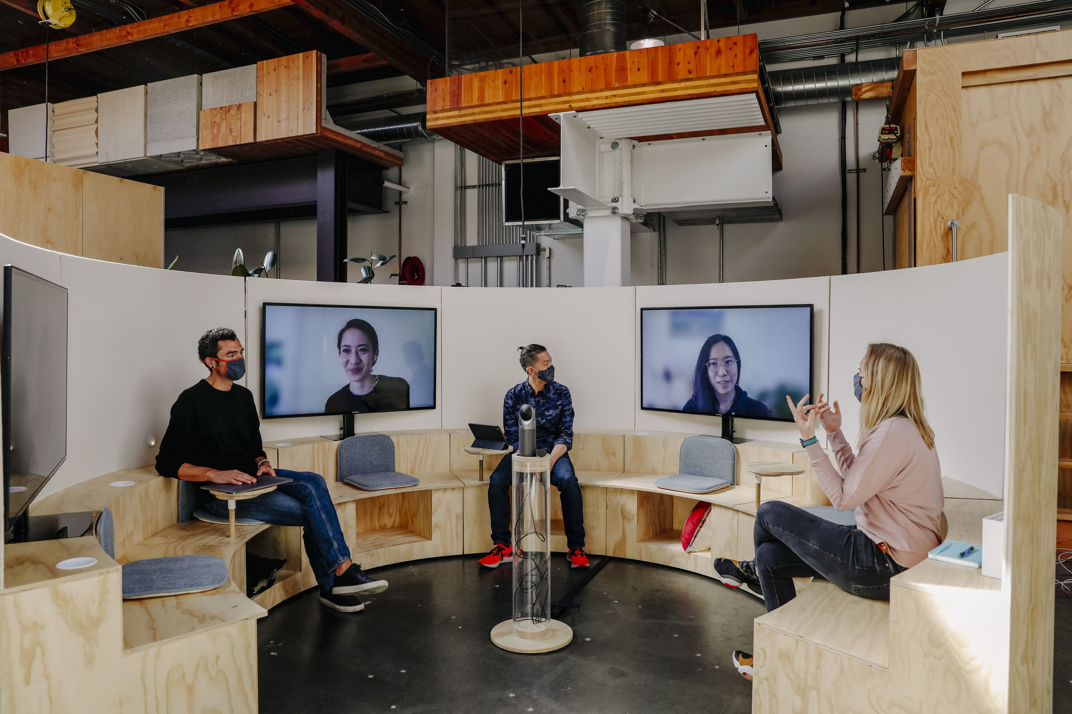 The Campfire meeting room concept, which would put virtual attendees on the same footing as in-person attendees, at Google in Mountain View, Calif., April 7, 2021. (Cayce Clifford/The New York Times)