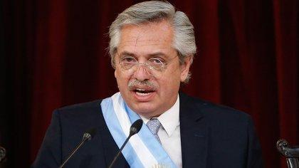 Alberto Fernández durante su asunción como presidente (EFE)