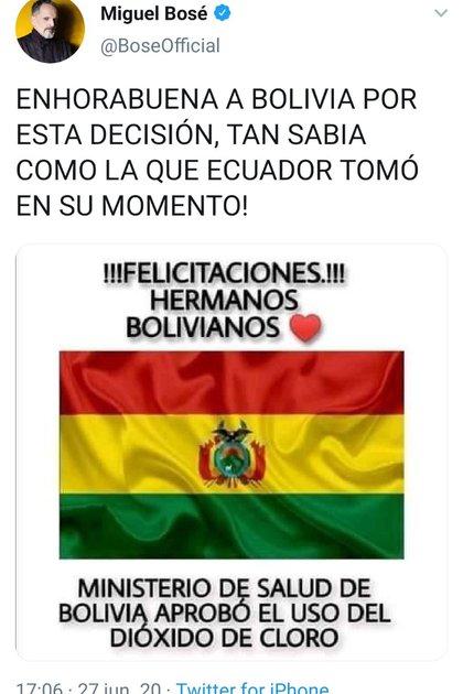 El mensaje de Miguel Bosé que fue eliminado por la red social (Foto: Facebook@MiguelBoseOficial)