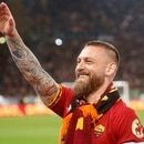 Roma's Daniele De Rossi greets supporters at the end of the Serie A soccer match between Roma and Parma at the Olimpyc stadium in Rome, Sunday, May 26, 2019. De Rossi played his last game with Roma. (Riccardo Antimiani/ANSA via AP)