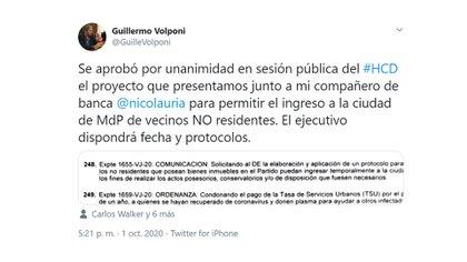 El Concejo Deliberante aprobó la iniciativa del concejal oficialista Guillermo Volponi