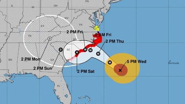 El reporte del NHC del miércoles a las 5 pm sobre el huracán Florence