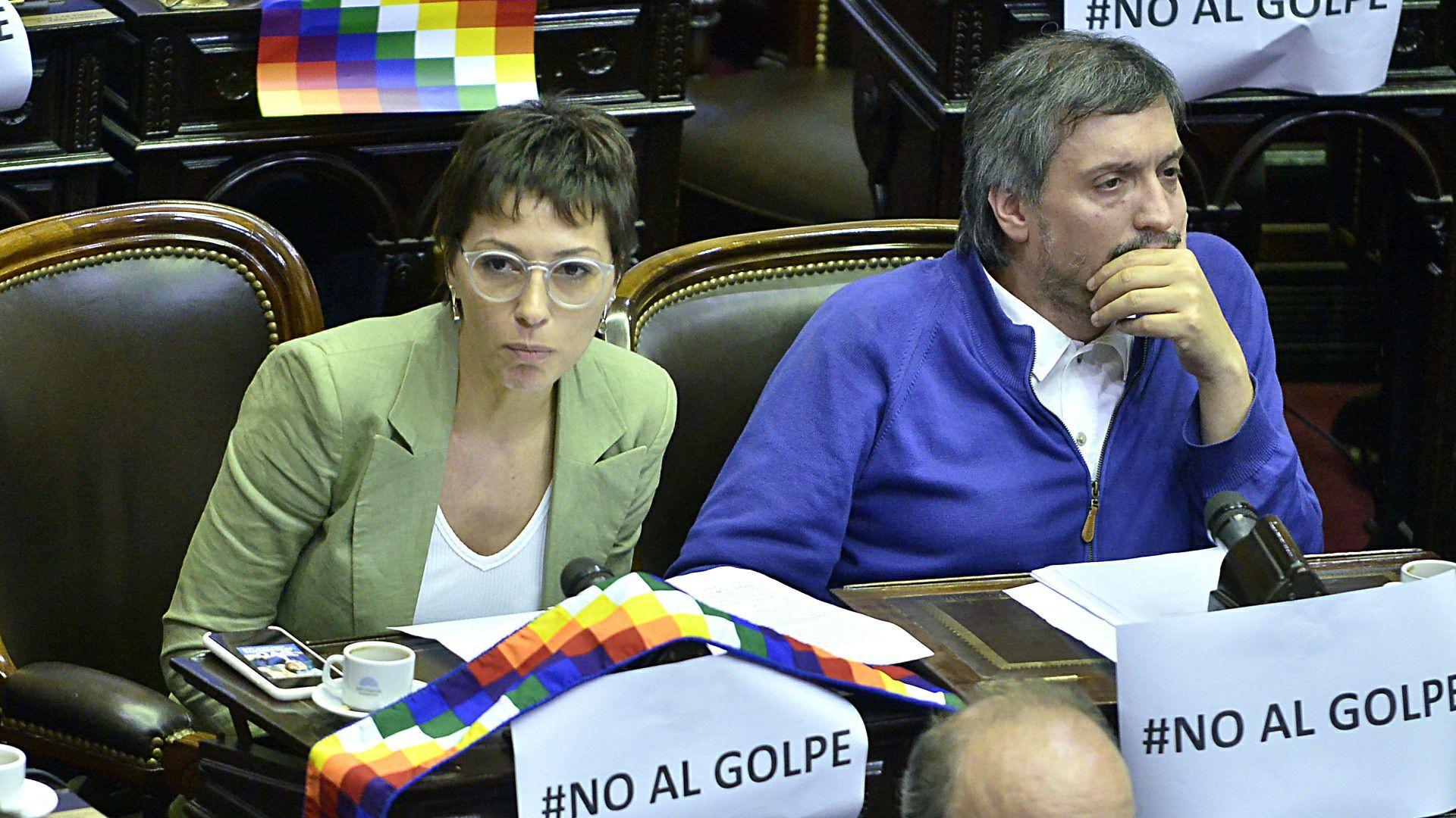 Mayra Mendoza y Máximo Kirchner durante la última sesión en la Cámara de Diputados (Gustavo Gavotti)