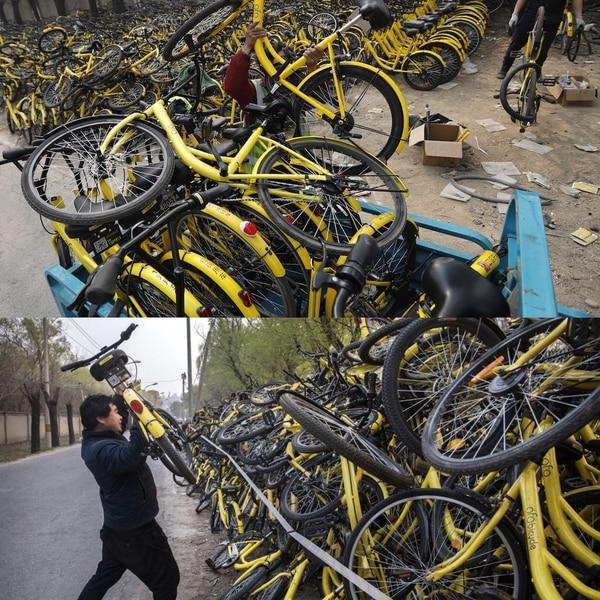 Empleados de gobiernos locales tienen la dura tarea de acumular las bicicletas en sitios destinados a su almacenamiento