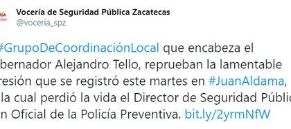 A través de un comunicado la Secretaría de Seguridad de la entidad lamentó el hecho y reprobó la agresión contras los uniformados (Foto: Twitter)
