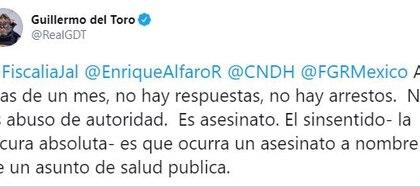 Guillermo del Toro se manifestó en contra del homicidio de Giovanni (Foto: Twitter / @RealGDT)