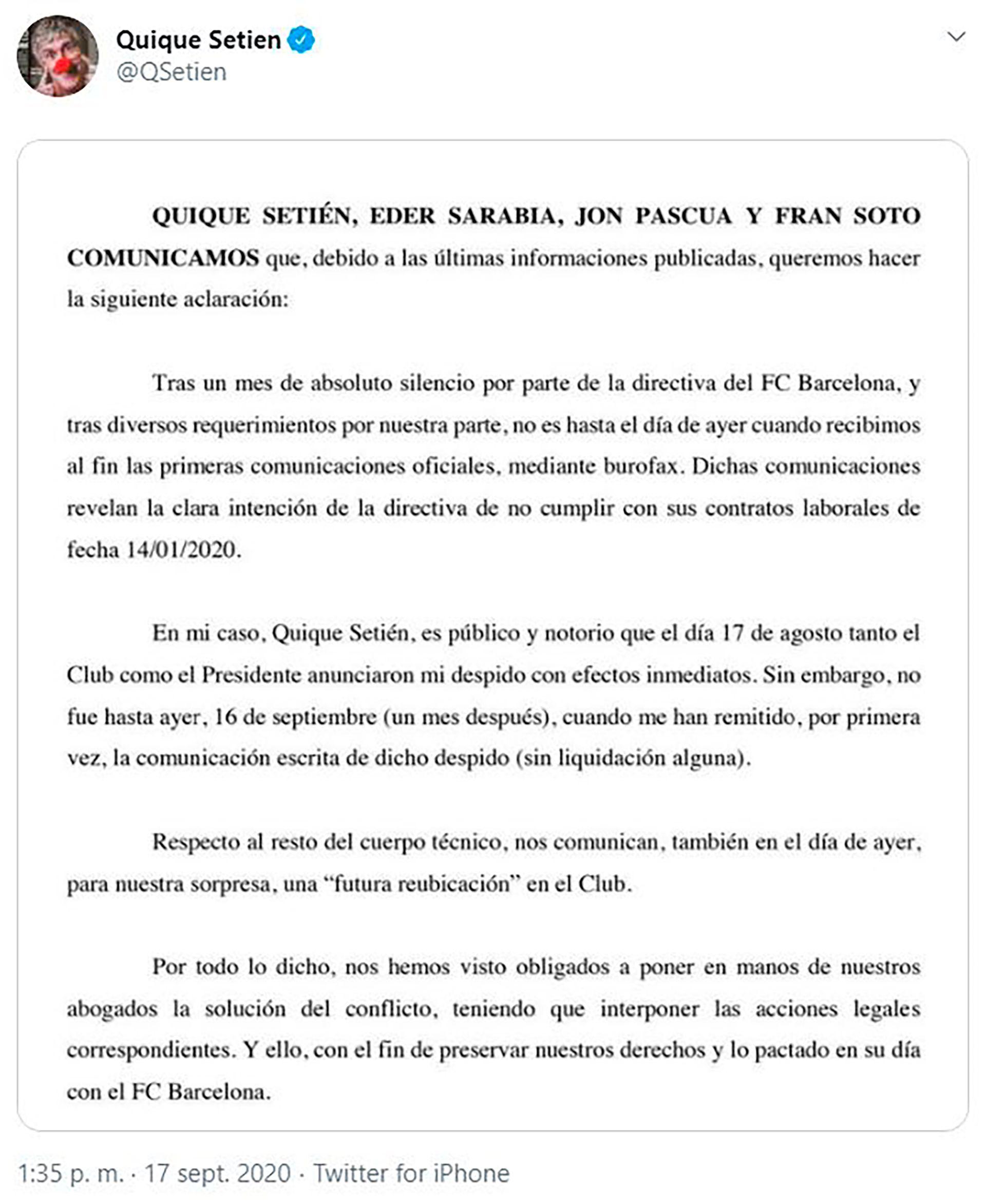 COMUNICADO DE SETIEN