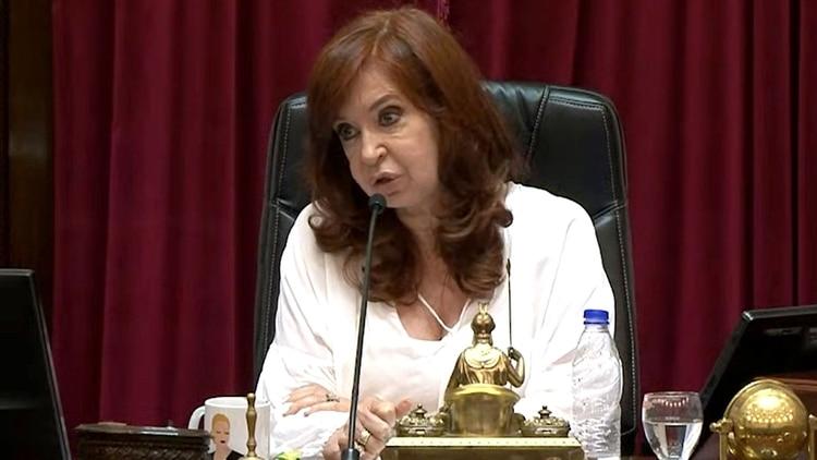 Cristina Fernández de Kirchner el 12 de marzo en la última sesión del Senado