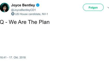 Tuit de la candidata Joyce Bentley Qanon, que luego sería borrado