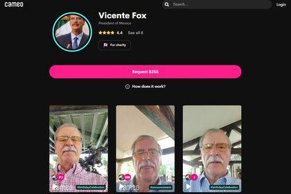 A través de la red social Caemo, Vicente Fox vende saludos personalizados (Foto: Cameo / Vicente Fox)