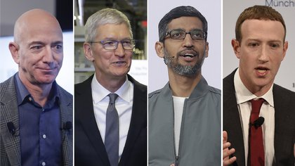 Jeff Bezos, Tim Cook, Sundar Pichai y Mark Zuckerberg.  (AP Photo/Pablo Martinez Monsivais, Evan Vucci, Jeff Chiu, Jens Meyer)