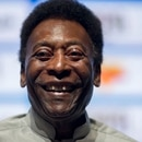 Legendary Brazilian footballer Pele, smiles during the opening event of the 2018 Carioca Football Championship at Cidade das Artes in Rio de Janeiro, Brazil, on January 15, 2018. Pele was named ambassador of the Championship. / AFP PHOTO / MAURO PIMENTEL