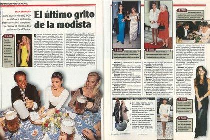 El cortocircuito por los vestidos de Zulemita Menem, en los medios de los '90 (Revista Noticias – Gentileza Archivo Tea y Deportea)