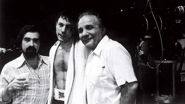 "Martin Scorsese, Robert de Niro y Jake La Motta durante el rodaje de ""Toro salvaje"""