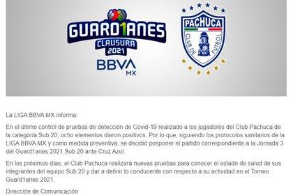 Comunicado de la Liga MX sobre casos de COVID-19 en Pachuca Sub-20 (Foto: Liga MX)