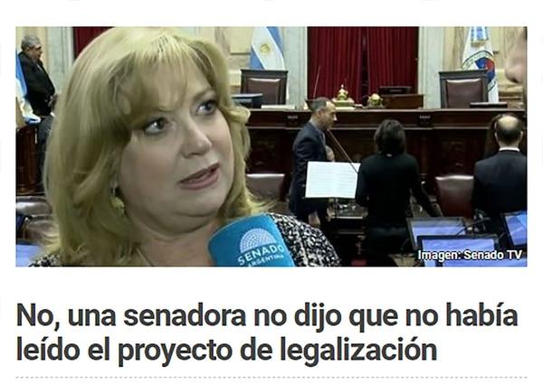 El sitio Chequeado verificó la operación contra la senadora López Valverde