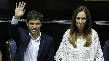 Axel Kicillof junto a la ex gobernadora María Eugenia Vidal (Nicolás Aboaf)