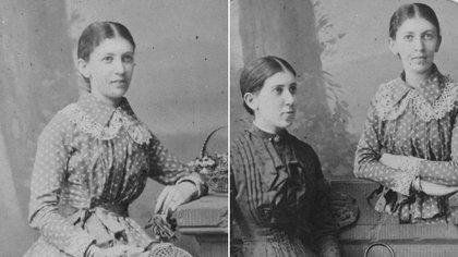 Dos rtetratos de las hermanas Bernays: Martha posa sola (a la izquierda) y luego junto a su hermana Minna, quien fue amante de Freud (Grosby Group)