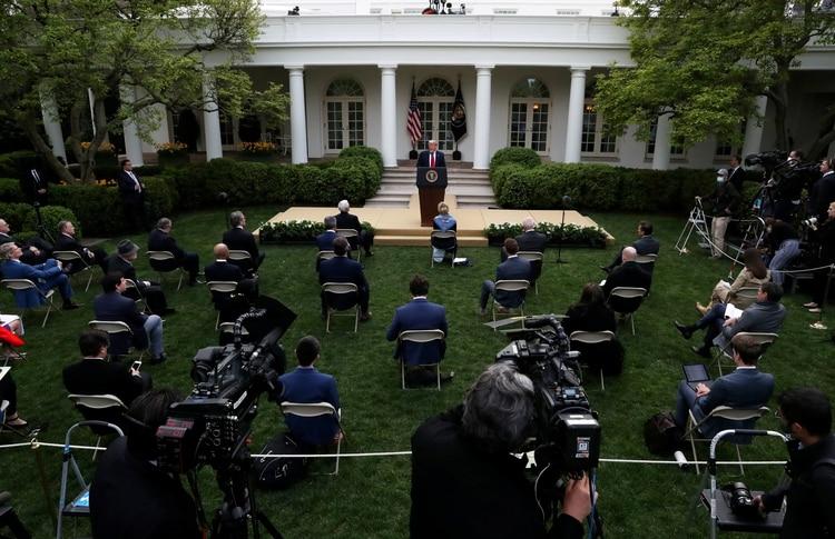 El presidente Donald Trump durante la conferencia de prensa del martes en la Casa Blanca REUTERS/Leah Millis