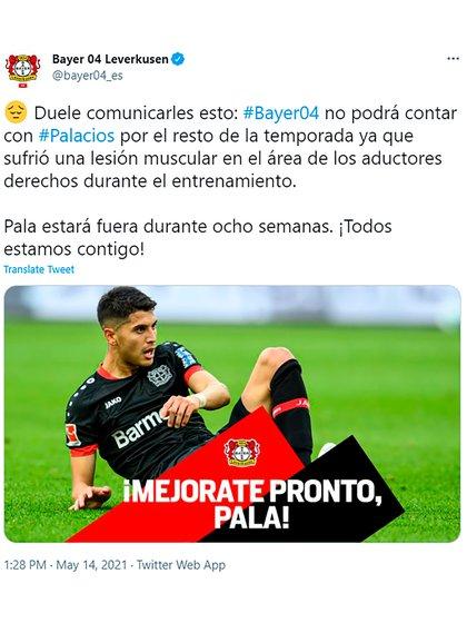 La cuenta del Bayer Leverkusen en español hizo eco de la noticia