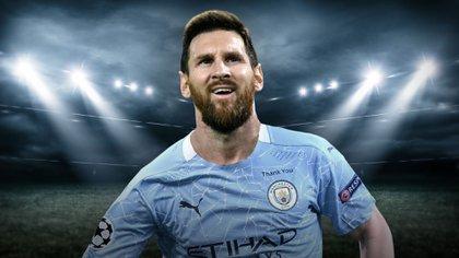 Messi con la camiseta del Manchester City. ¿Se dará cuando el argentino termine su contrato con el Barcelona? (Mariano Llanes-Infobae)