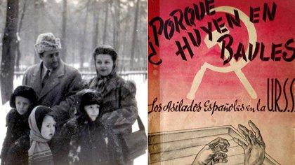 Pedro Conde Magdaleno con su familia en Moscú y el libro que escribió sobre lo que vio en la Rusia soviética