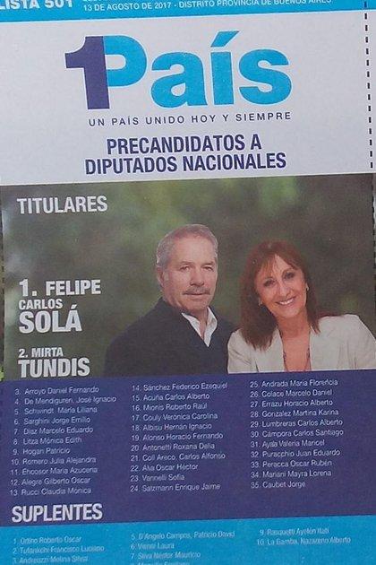 La boleta de diputados nacionales de 1País por la Provincia de Buenos Aires que compitió en 2017.