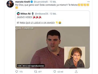 """El tweet de Marcelo Tinelli recomendando la pieza de Milton Re y felicitándolo: """"Qué genio sos"""", le dijo el conductor (Foto: Twitter @cuervotinelli)"""