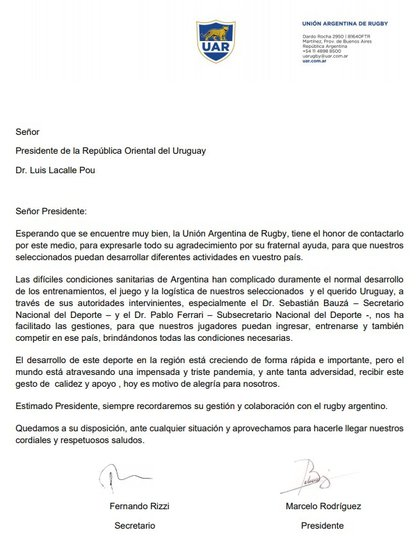 La carta de Los Pumas al presidente de Uruguay