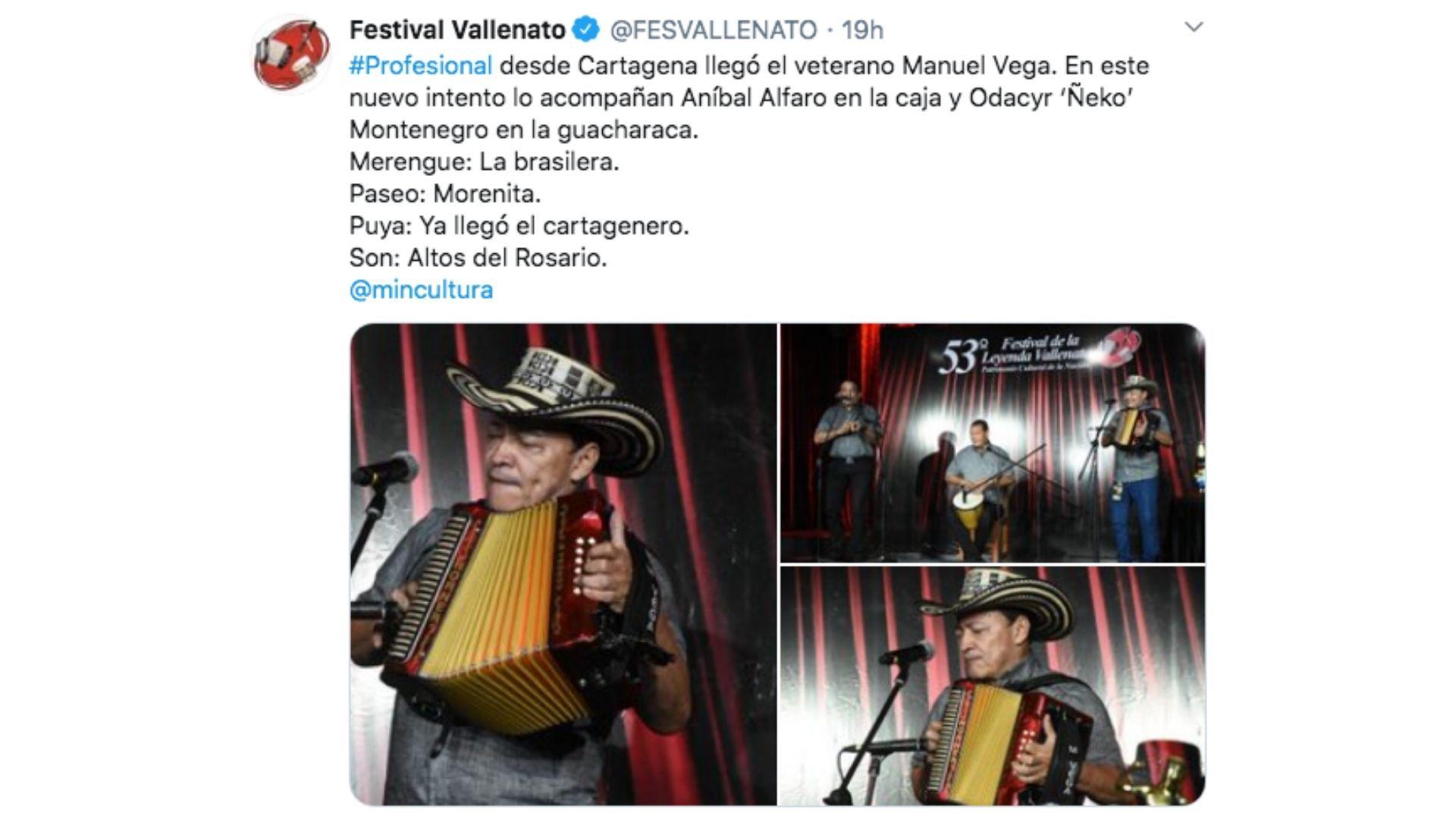 Manuel Vega haciendo la presentación que le daría el título de Rey Vallenato.