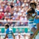 Julian Hernandez ARG kisses Matteo Graziano ARG on the head after scoring a try during the Rugby Sevens Mens Tournament Pool match between USA and Argentina ARG at Club Atletico San Isidro Sede La Boya. The Youth Olympic Games, Buenos Aires, Argentina Saturday 6th October 2018. Photo: Jed Leicester for OIS/IOC. Handout image supplied by OIS/IOC