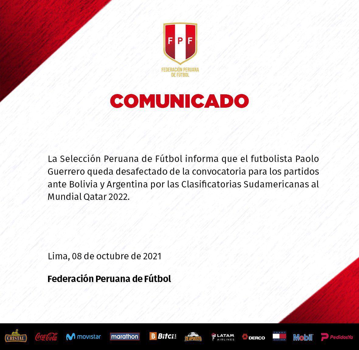 Comunicado Selección Peruana
