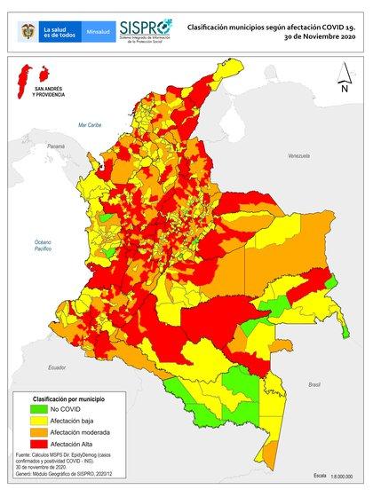 Mapa de contagios discriminado por municipios de acuerdo al nivel de afectación por COVID-19 en Colombia / (Ministerio de Salud y Protección Social).