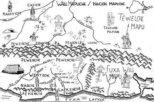 """Mapa de los territorios """"mapuches"""""""